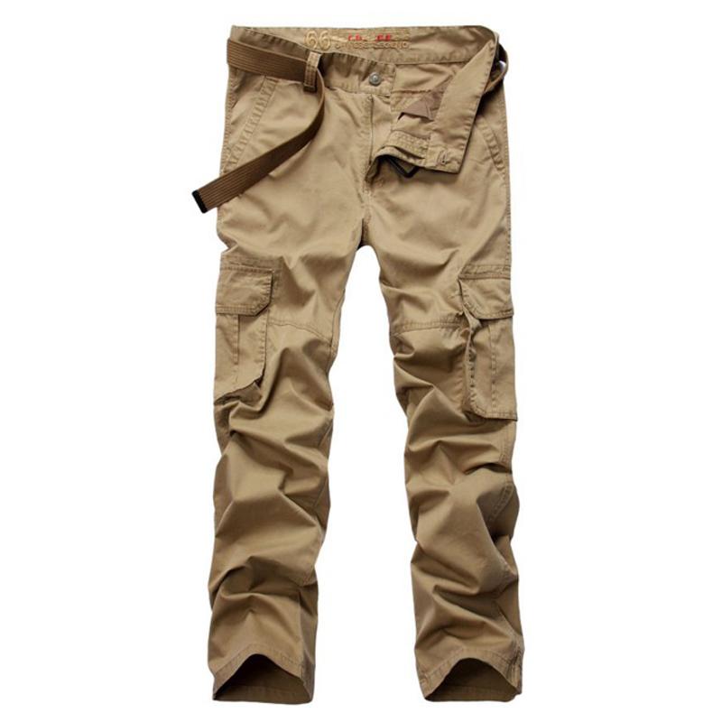 2016 Mens Pants Khaki Big Pocket Decoration Washing