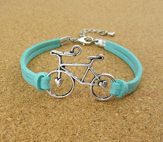 Funny Silver Bicycle Leather Braid Bracelets,Bicycle Charms for Bracelets,Cycling Bracelet,Colored Bike Chain Bracelet Cheap(China (Mainland))