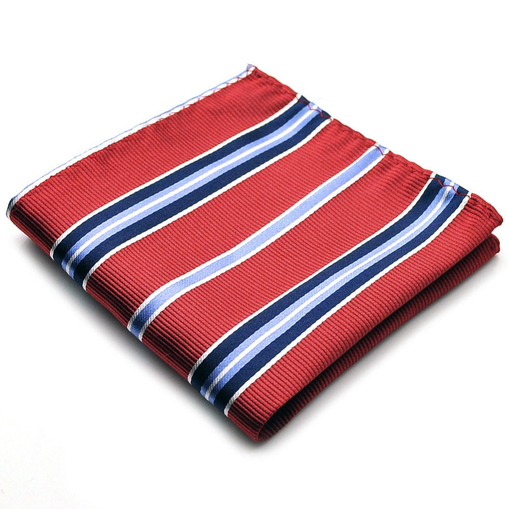 PenSee Mens Pocket Square 100% Silk Woven Red & Blue Striped #16 - Pensee Fashion store