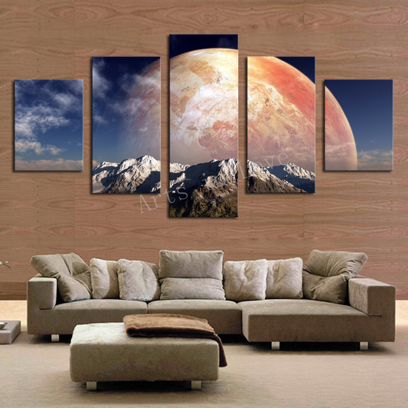 5 Pane Big Moon HD Painting Canvas Wall Art Picture Home Decoration Living Room Print Modern Unframed - Whisper of painting store