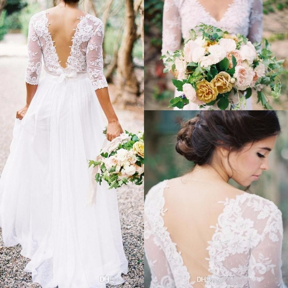 aliexpresscom buy romantic bohemian wedding dresses lace chiffon v neck 34 sleeve plus size summer beach bridal gowns low back from reliable lace white