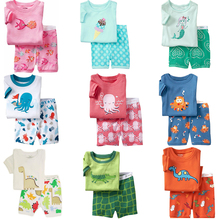 2015 Summer Kids Clothes Baby Boys Girls Clothing Supperman Short Sleeve Costume Cotton Pajamas PJS Childrens