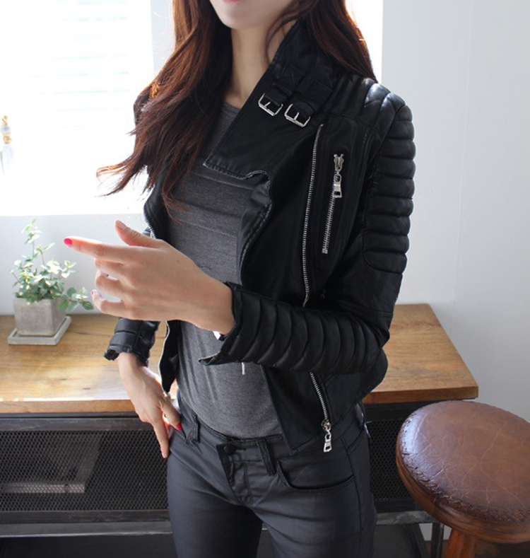 2014 New Fashion Womens Slim Lapel Zipper Pocket PU Leather Jacket OuterwearОдежда и ак�е��уары<br><br><br>Aliexpress