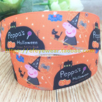 Free shipping 10 yards 1'' (25mm) halloween printed Grosgrain Ribbon hairbow accessory gift pack code Z55