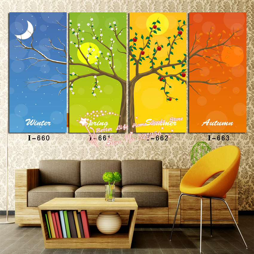 Modern wall art home decoration printed oil painting for 4 seasons decoration