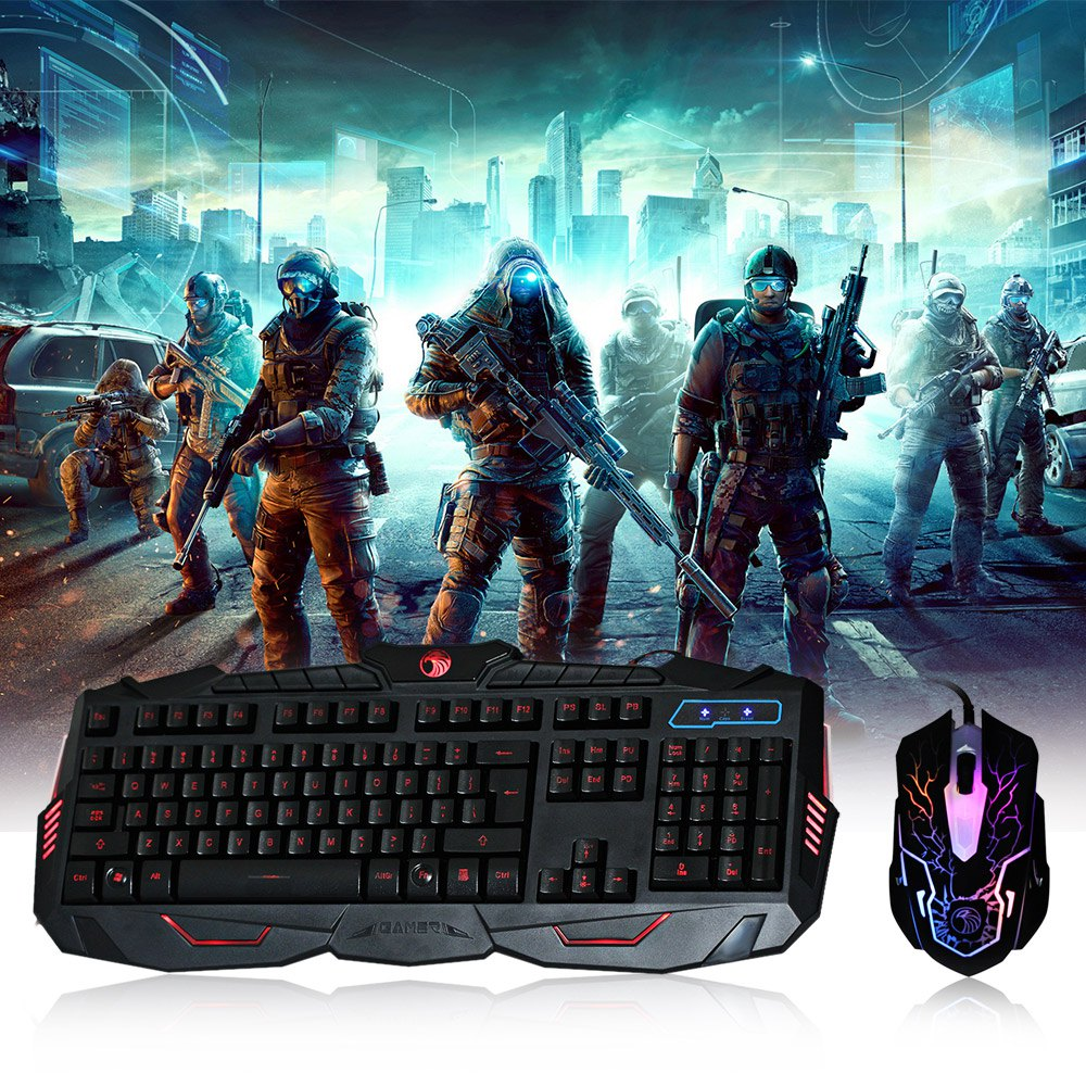 RUYINIAO MK200 3 Colors Backlit Wired USB Gaming Keyboard with High-Definition Optical Mouse for LOL Dota 2 Computer Peripherals