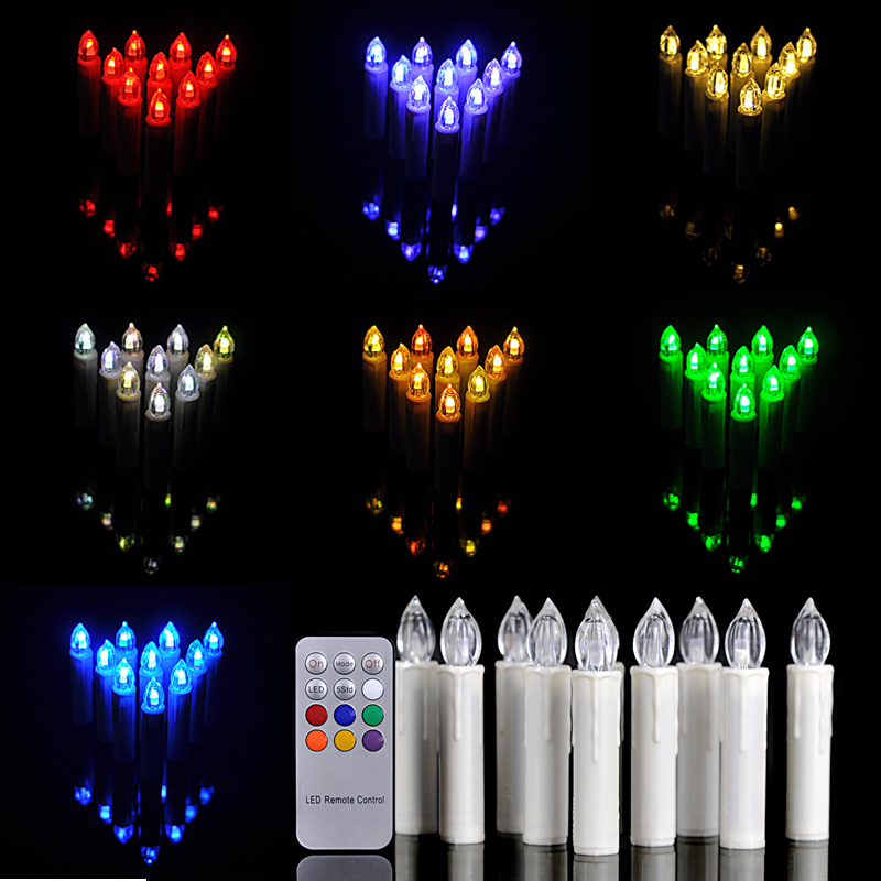10 pcs remote control 12 colors change led candle light christmas tree birthday decorations - Appealing christmas led candles for christmas decorations ...
