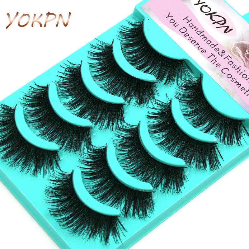 YOKPN New Thick Cross False Eyelashes 1 Box 5 Pairs High-quality Natural Makeup Tool Natural Fiber Fake Eyelashes(China (Mainland))