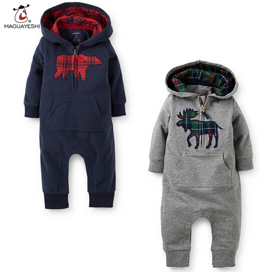 Baby Rompers 2016 Fashion Brand Ropa De Bebe Long Sleeve Hooded Cotton Baby Costume Winter Autumn Romper Newborn Baby Clothes(China (Mainland))