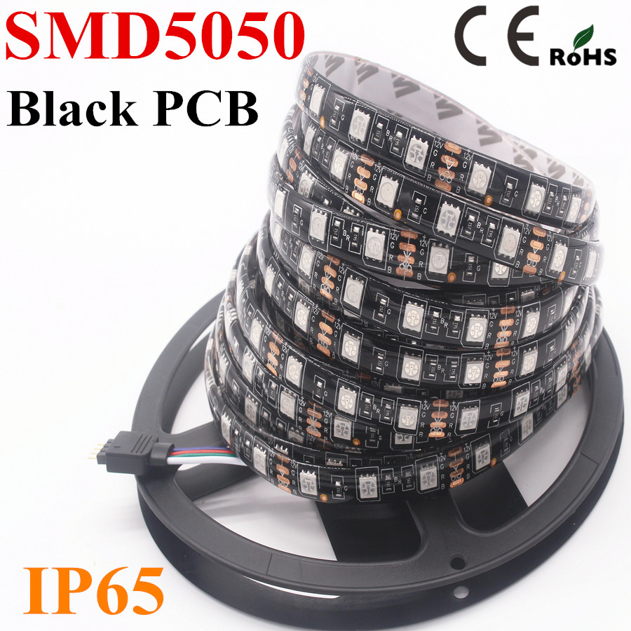 100M Black PCB LED Strip SMD 5050 DC12V IP65 Waterproof 60LED/m White / Warm White / Red / Green / Blue / RGB 5050 LED Strip(China (Mainland))