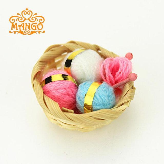Knitting Work From Home : Dollhouse miniature woolen knitting home work bamboo
