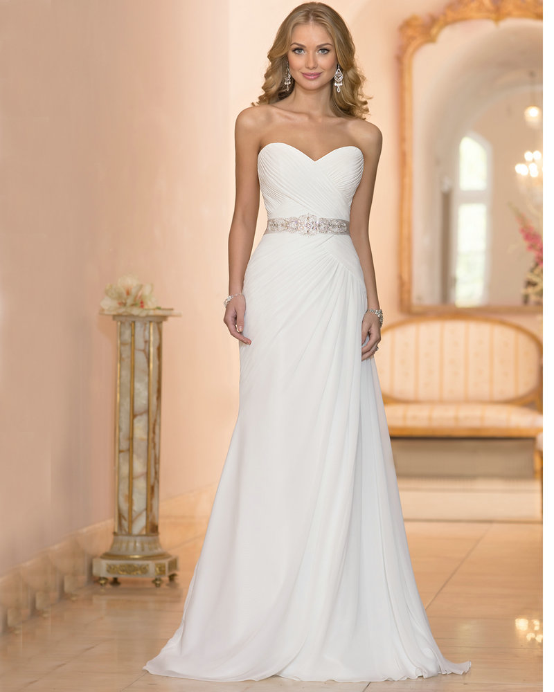 Wedding gowns chiffon ivory cheap price bohemian wedding for Designer wedding dresses at discount prices