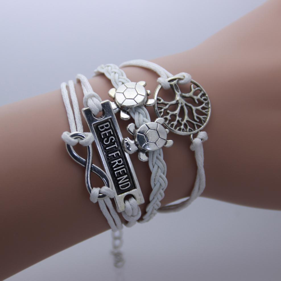 AB0126  Turtle Tree of Life BEST FRIEND infinity 8 words Leather Bracelet B5(China (Mainland))