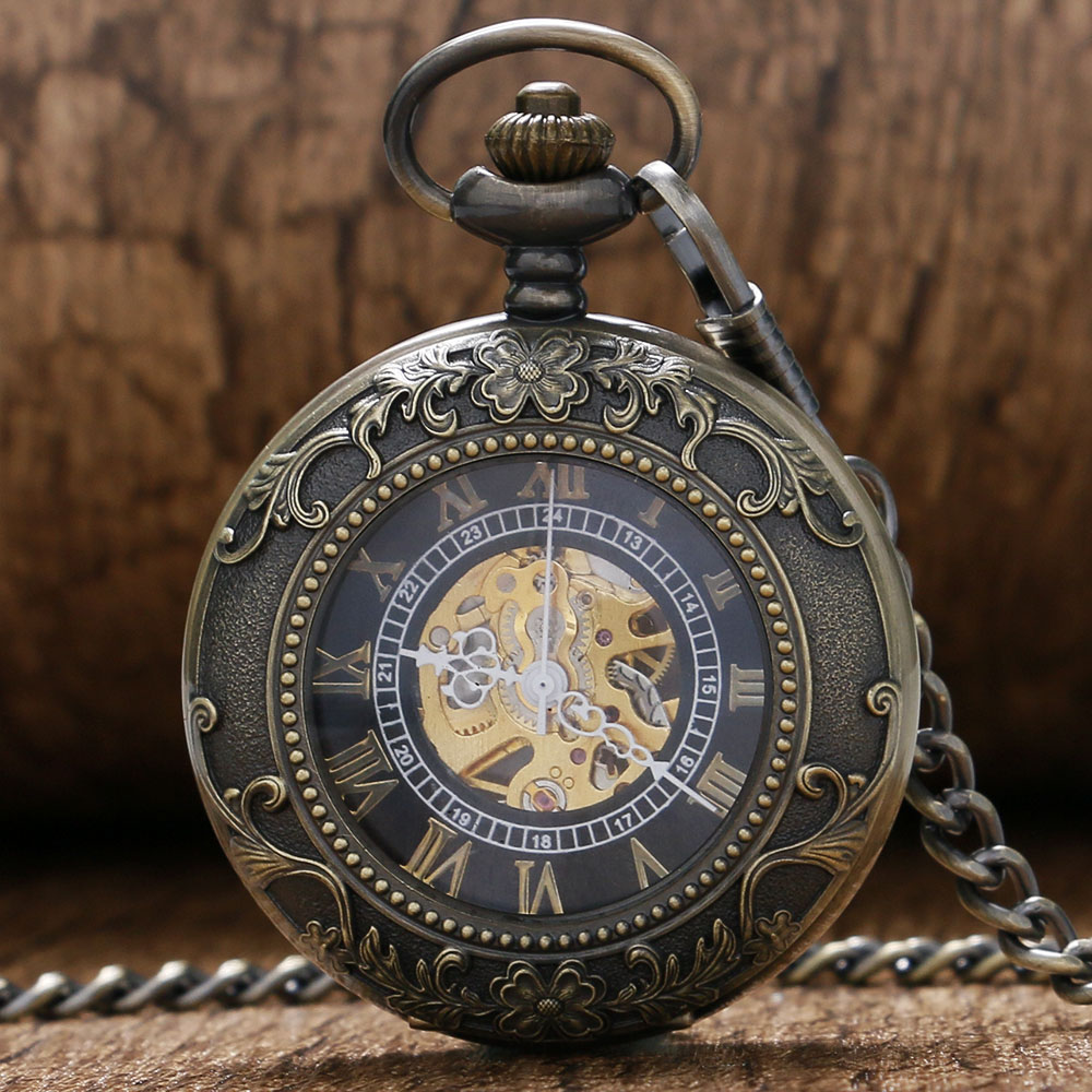 2016 New Vintage Flower Bronze Hollow Case With Roman Number Skeleton Mechaincal Pocket Watch With Chain Gift To Men Women(China (Mainland))