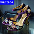 Women Ornate crystal Corduroy Hook Loop shoes rhinestone high heel ladies party Stiletto ankle Strap shoes
