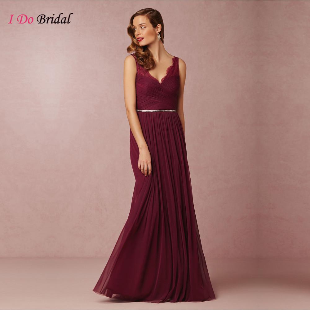 Vintage Burgundy Bridesmaid Dresses Tulle Maroon Long Lace Maid of Honor Dress For Weddings Floor Length Diamond Sash D30(China (Mainland))