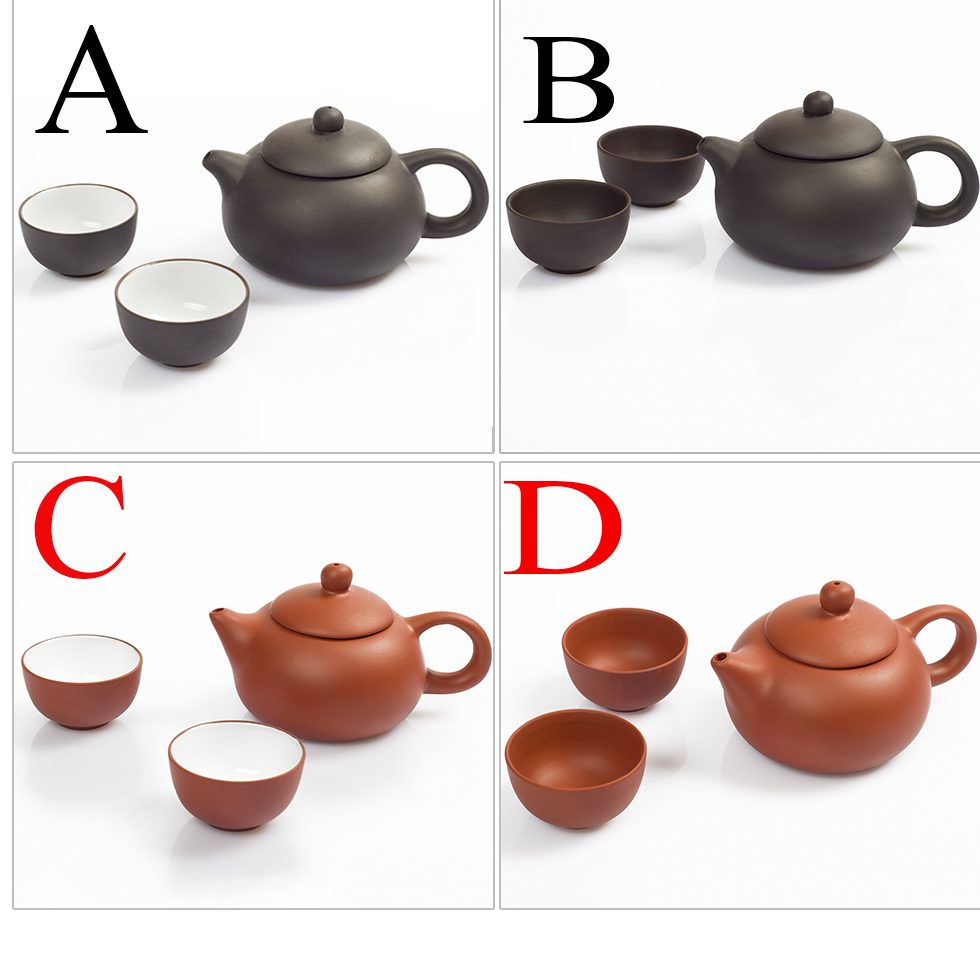 Drinkware tools Free shipping 3pcssets chinese kung fu tea set High quality Undressed ore purple clay