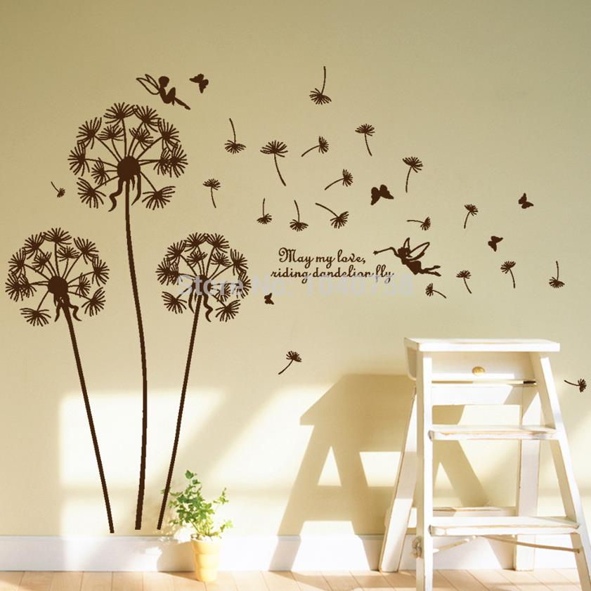 Sticker wall picture more detailed picture about removable pvc dandelion wall stickers living - Decorative wall sticker ...