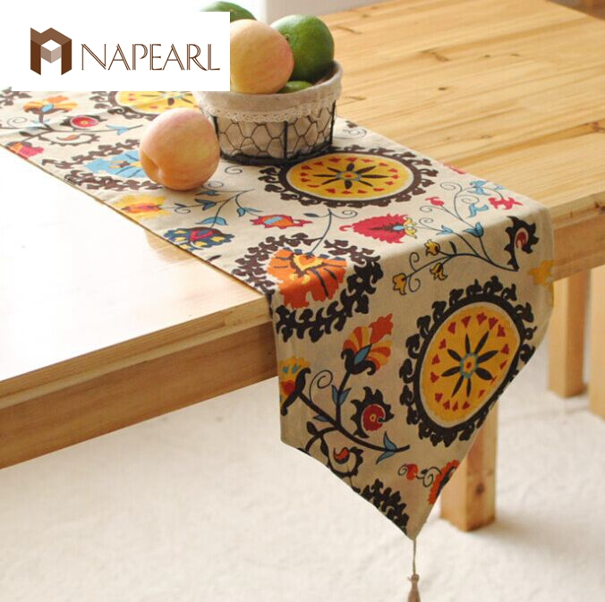 Foreign table flags modern European-style garden coffee table stylish simplicity flag tassels Bohemian Bed table runner(China (Mainland))