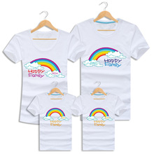 Summer Family Clothing Short Sleeve Family Look Rainbow T Shirts Matching Outfits Clothes For Mother Daughter And Father Son