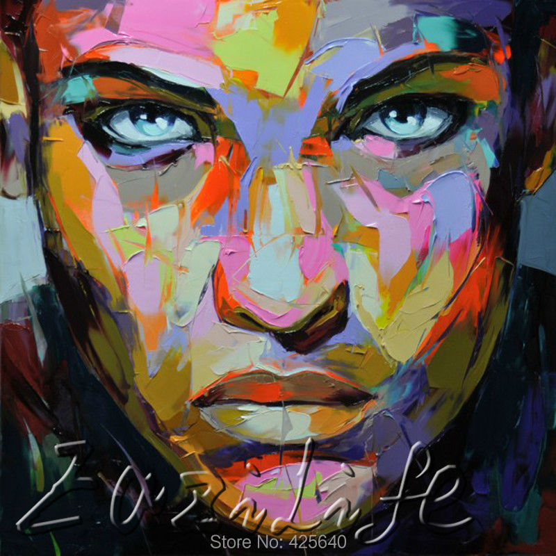 Buy Palette knife painting portrait Palette knife Face Oil painting Impasto figure on canvas Hand painted Francoise Nielly 17 cheap