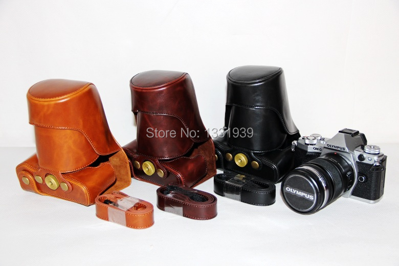 2015 High Quality Camera Leather Camera Case Bag Cover for Olympus EM5II EM5 mark II With