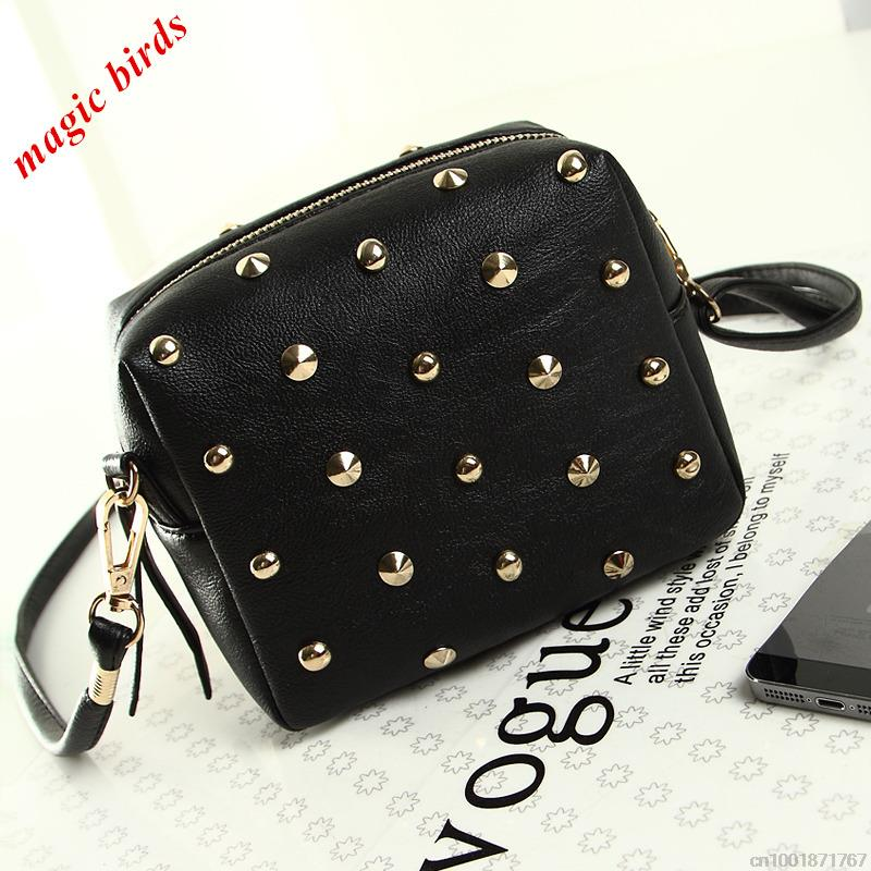 2015 new arrive rivet  mini women bags  women messenger bag fashion women's handbag candy color women should bags