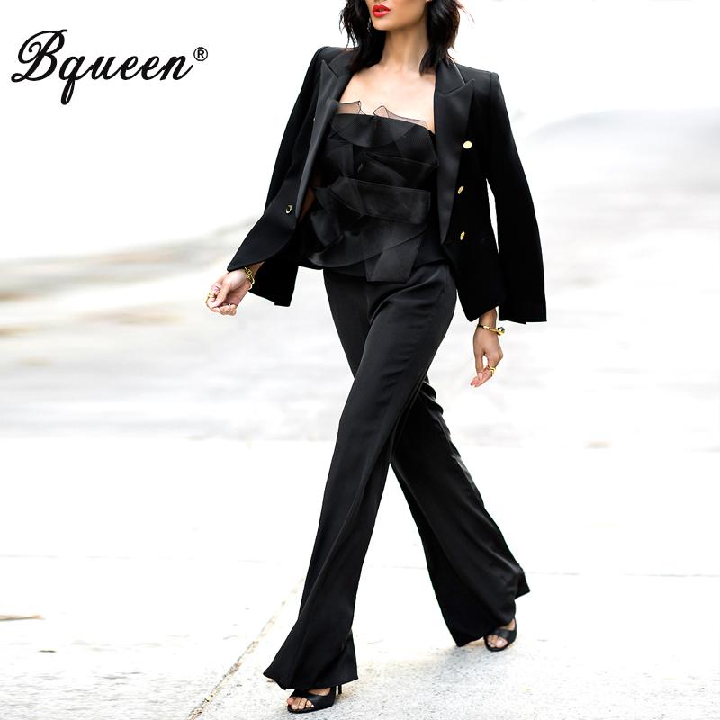 Bqueen 2017 Women High Quality Pants Suit Sets Casual Office Business Suits Boot Cut Pant 2 Pieces