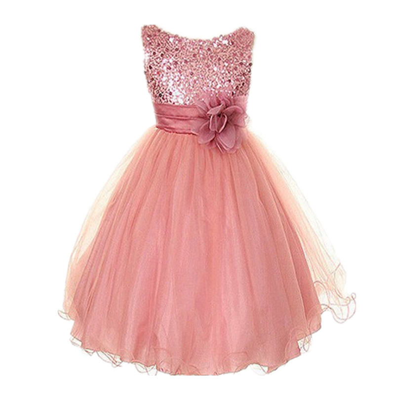 New Kids Girls Birthday Girl Dress Cute Sequin Sleeveless Vest Princess Lace Dress 11 color Baby Dresses For Girls Vestido(China (Mainland))