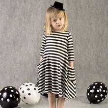 New Autumn Girls Stripe Dresses Fashion Kids Dress Children Casual Long Sleeve Loose Dress Pockets Asymmetric Dress(China (Mainland))