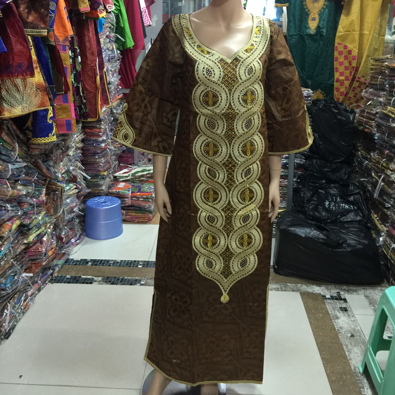 Free DHL the new African lady dress fashion exquisite embroidery Bazin 2015 traditional African materia