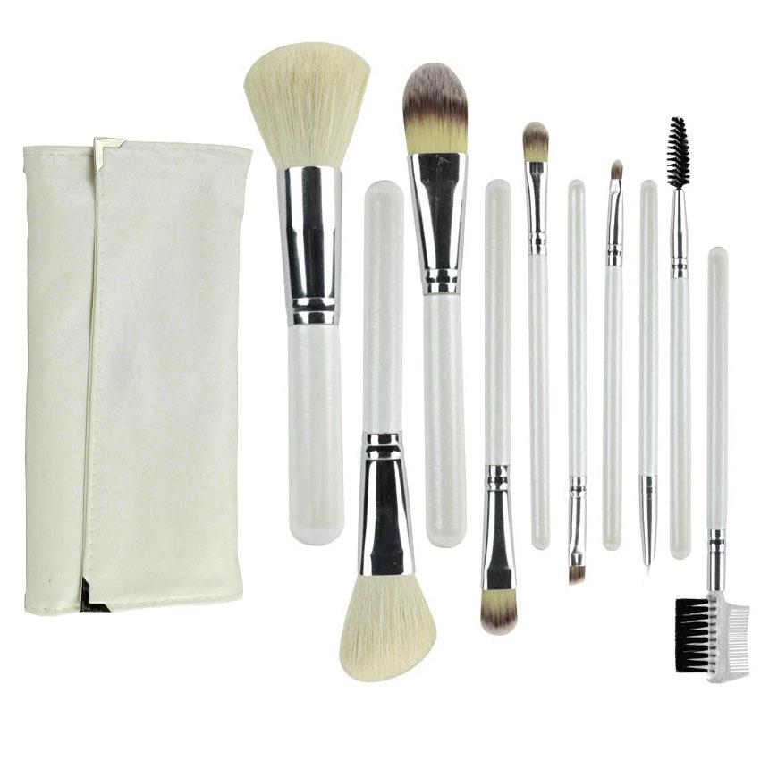 10Pcs Cosmetics Makeup Brushes Tools Goat Hair Kabuki Powder Foundation Eyeshadow Lip Blush Makeup Brush Set Kit Case Wholesale(China (Mainland))