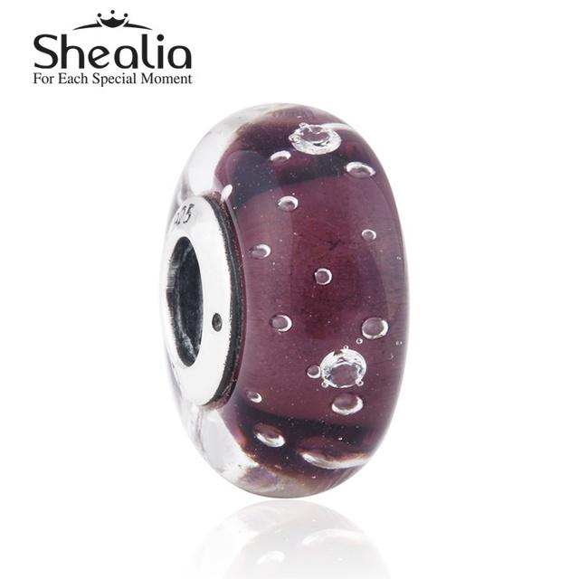 2015 новый стерлингового серебра 925 фиолетовый fizzle муранского стекла бусины подходит известный бренд diy шарм браслеты HT228
