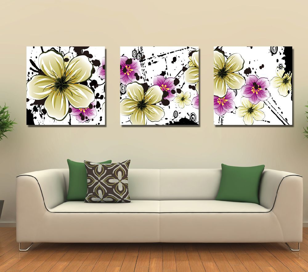 Canvas Painting Big Flowers Pictures For Living Room Modern Art