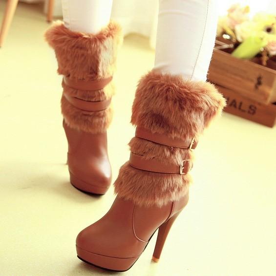 New fashion lady warm winter wool zipper tube snow boots knight boots brown oversized 34-43(China (Mainland))