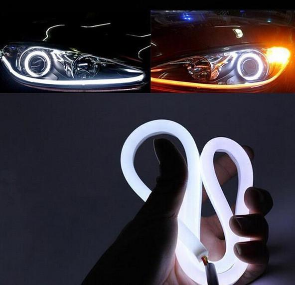 2x 60cm DRL Flexible LED Tube Strip Style Car Headlight Light Amber/White For Eclipse Endeavor Galant Lancer Montero Outlander<br><br>Aliexpress
