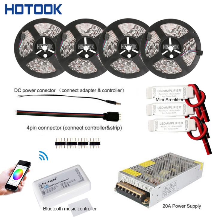20M RGB Led Strip Waterproof IP65 10M 15M 5050 tiras Red Blue Green + Bluetooth Music Controller + 12V Power Adapter Supply Kit(China (Mainland))