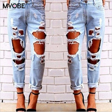 2016 Hot Sale New Fashion Women Casual Blue Midi Waist Torn Jeans Hole Knee Skinny Pencil Pants Denim Ripped Jeans For Womens