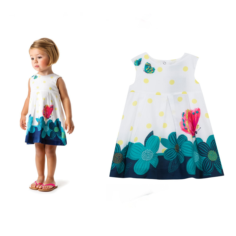 It's this season's must-have,summer kids girls dress big fuchsia butterfly gathers pollen printing,2-7T baby girls white dress(China (Mainland))