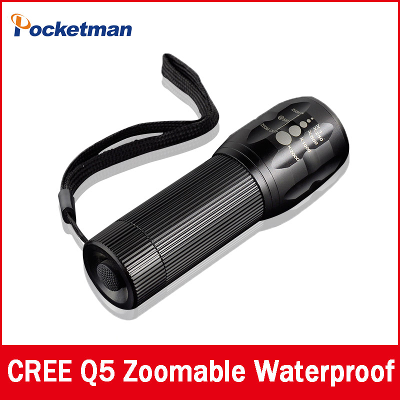 High-quality CREE Q5 2000 Lumens Lanterna Waterproof Mini Black LED Flashlight 3 Modes Zoomable Tactical Torch Light(China (Mainland))