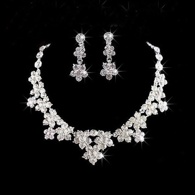 New Arrival Noble crystal Wedding  jewelry sets Fashion shiny rhinestone Necklace Bridal jewelry sets for Women wedding