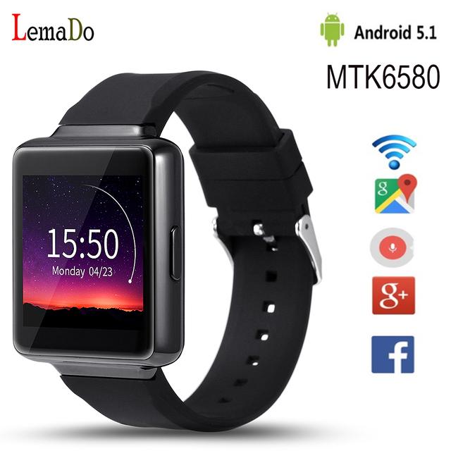 2016 Новый Lemado К1 android 5.1 OS smart watch с MTK6580 ПРОЦЕССОР 512 + 8 ГБ поддержка 3 Г wi-fi Mp3 bluetooth для ios android phone