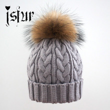 Thick Knitted beanie warm hats with real fur balls  BIG pattern fur hats for women and men in winter fur hat Free shipping