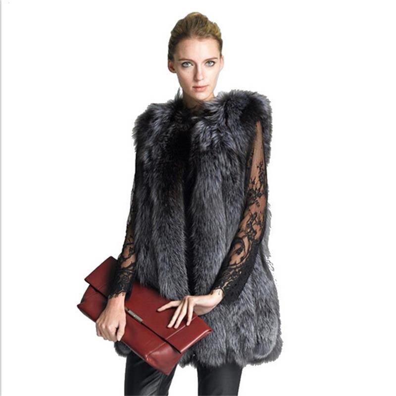 new 2016 design fashion winter women silver fox fur vest faux fur coat woman cloak fur vests. Black Bedroom Furniture Sets. Home Design Ideas