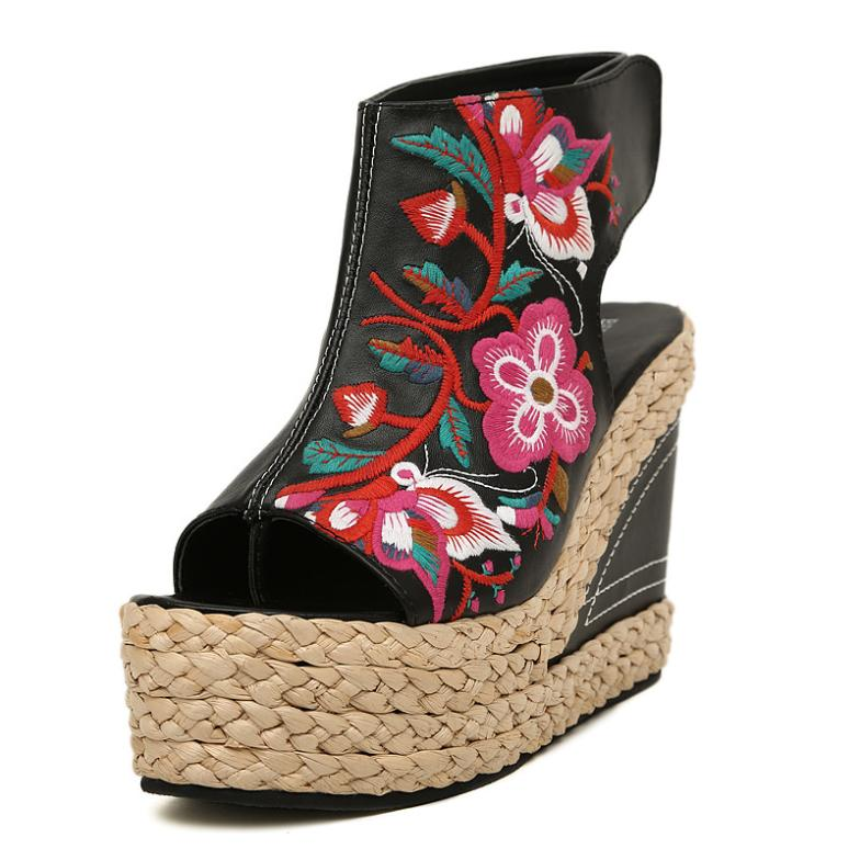 Bohemian ethnic style embroidery ultra-high platform shoes straw wedge sandals Women's Shoes EUR Size 35-40 US Sizes 4-9 - All the good all in here! store