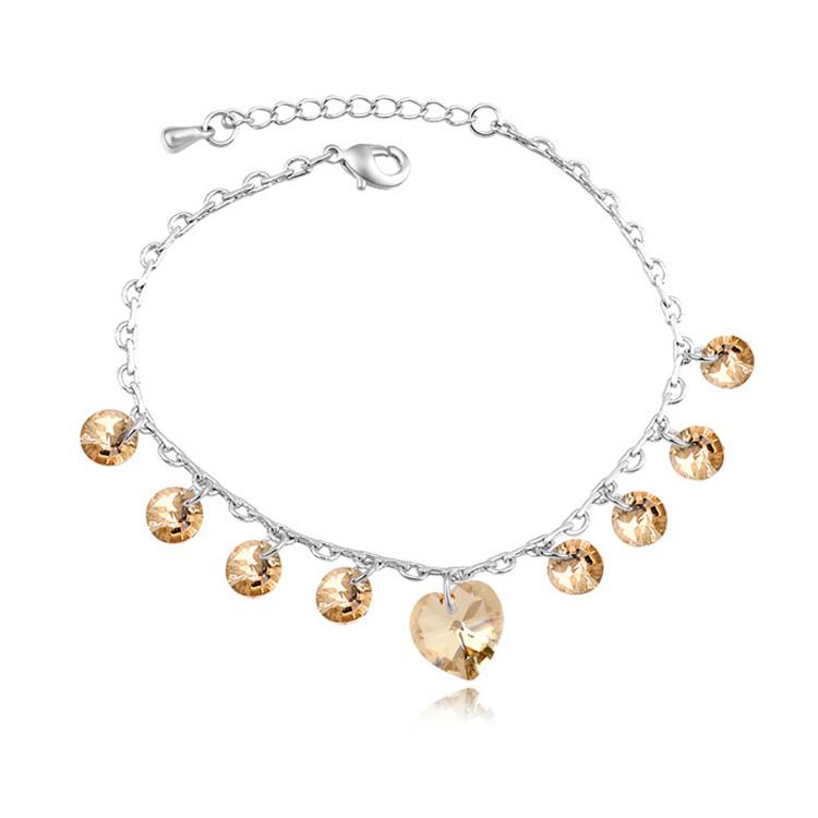 Original Austrian Crystal Crystals from Swarovski Heart Charm Bracelets & Bangles Women Pulseras Mujer DIY Fine Jewelry(China (Mainland))