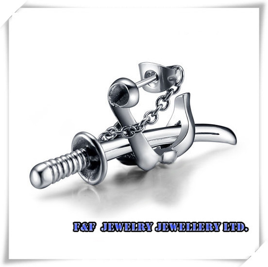 One Pair Cool Men's Women's Silver Sword Kantana Set 316L Stainless Steel Stud Earrings, ,E#018 - FUNFUN store
