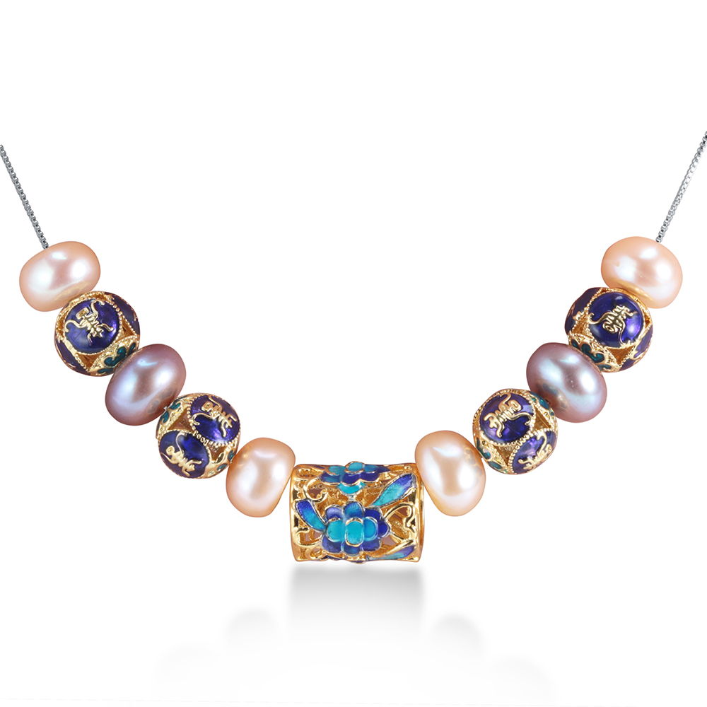 European Style natural pearl necklace for women AAAA high quality pearl jewelry New Blue accessaries with 45cm silver chain(China (Mainland))