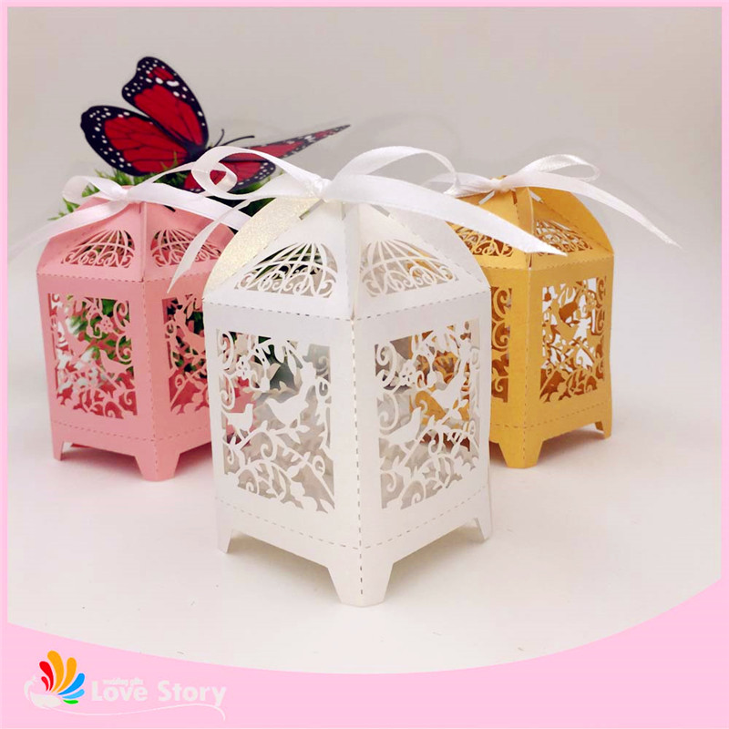 50pcs birdcage wedding favor box party candy box gift box for Wedding favor supplies