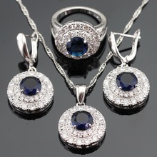 New Style Blue Sapphire Tanzanite Silver Jewelry Sets For Women White Zircon Necklace/Pendant/Earrings/Rings Free Gift Box(China (Mainland))